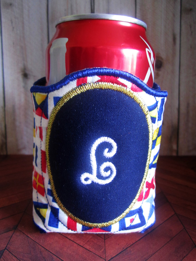 Oval Monogram Koozie In The Hoop