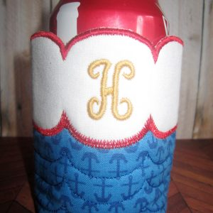 Scallop Monogram Koozie In The Hoop