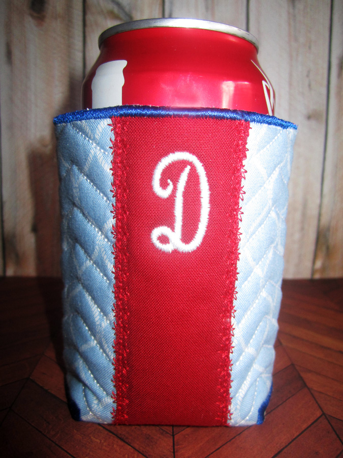 Stripe Monogram Koozie In The Hoop