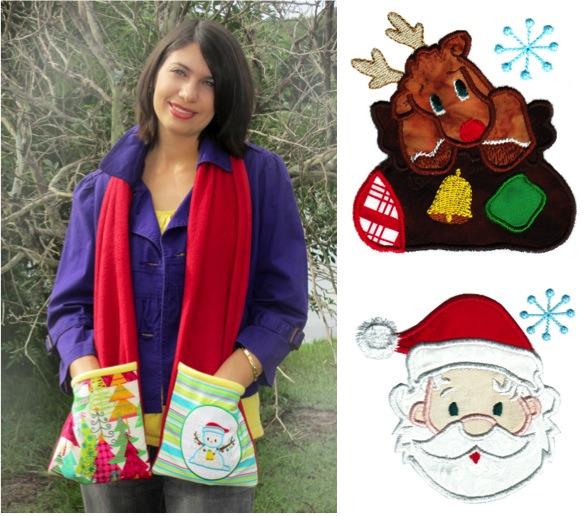 Christmas Pocket Scarf - Pattern with designs