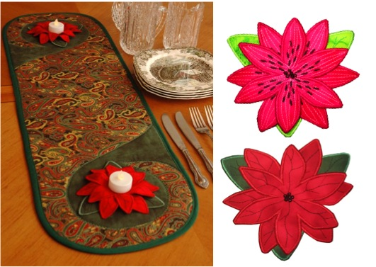 3D Flowers and Swirly Table Runner In The Hoop