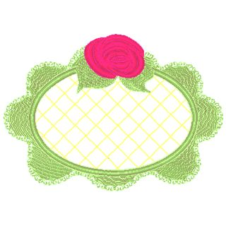 Tea Bunnie Rose Frame Applique