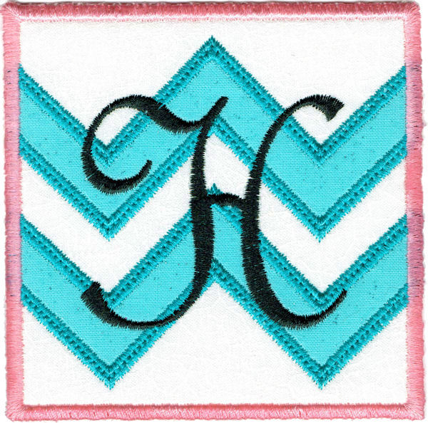 Chevron with Font Square Coaster In The Hoop