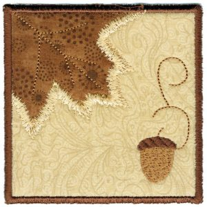 Fall Leaf Square Coaster In The Hoop