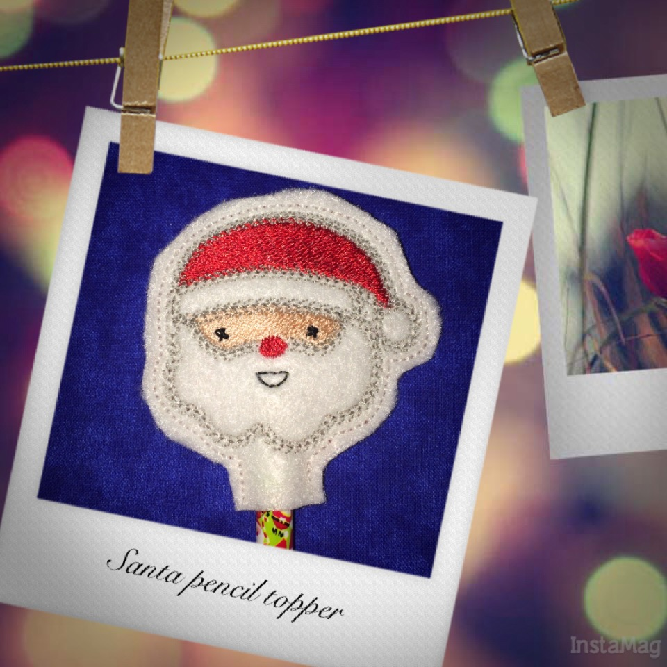 Santa Pencil Topper In The Hoop Single
