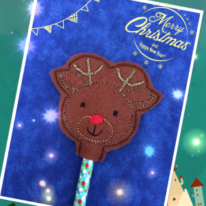 Reindeer Pencil Topper In The Hoop Single