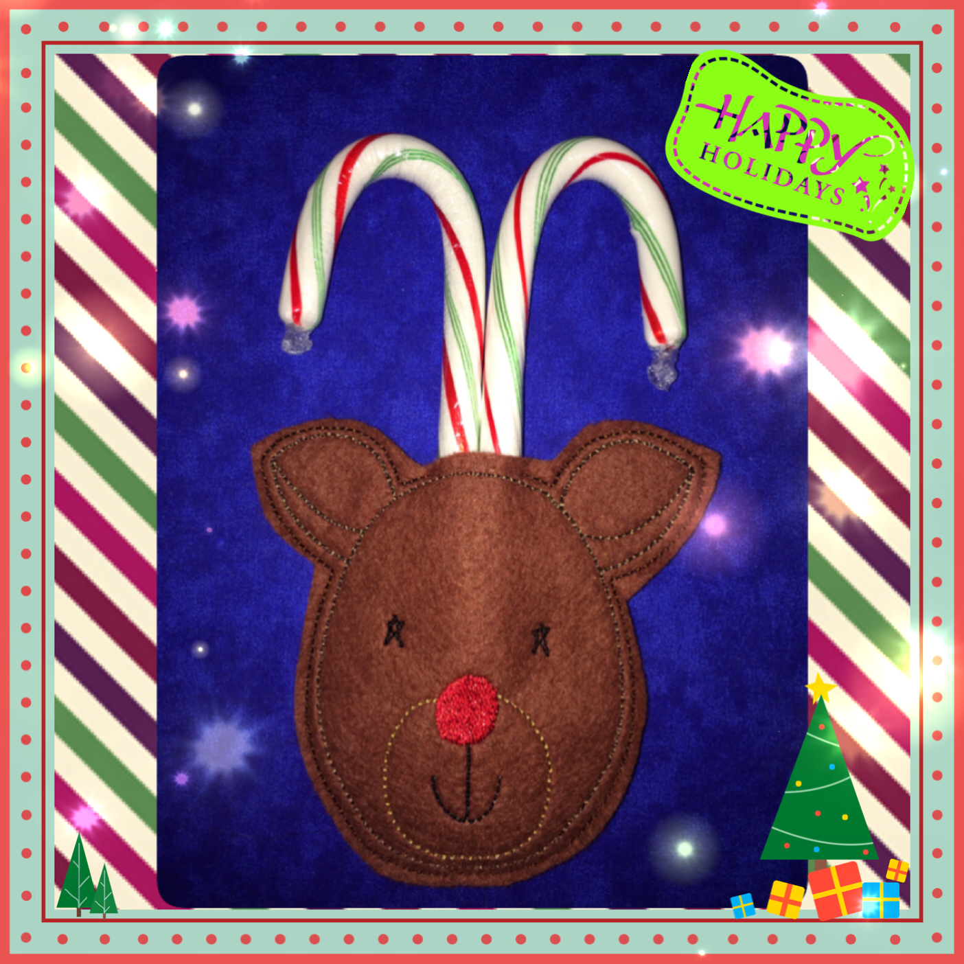 Reindeer Candy Cane Holder In The Hoop Single