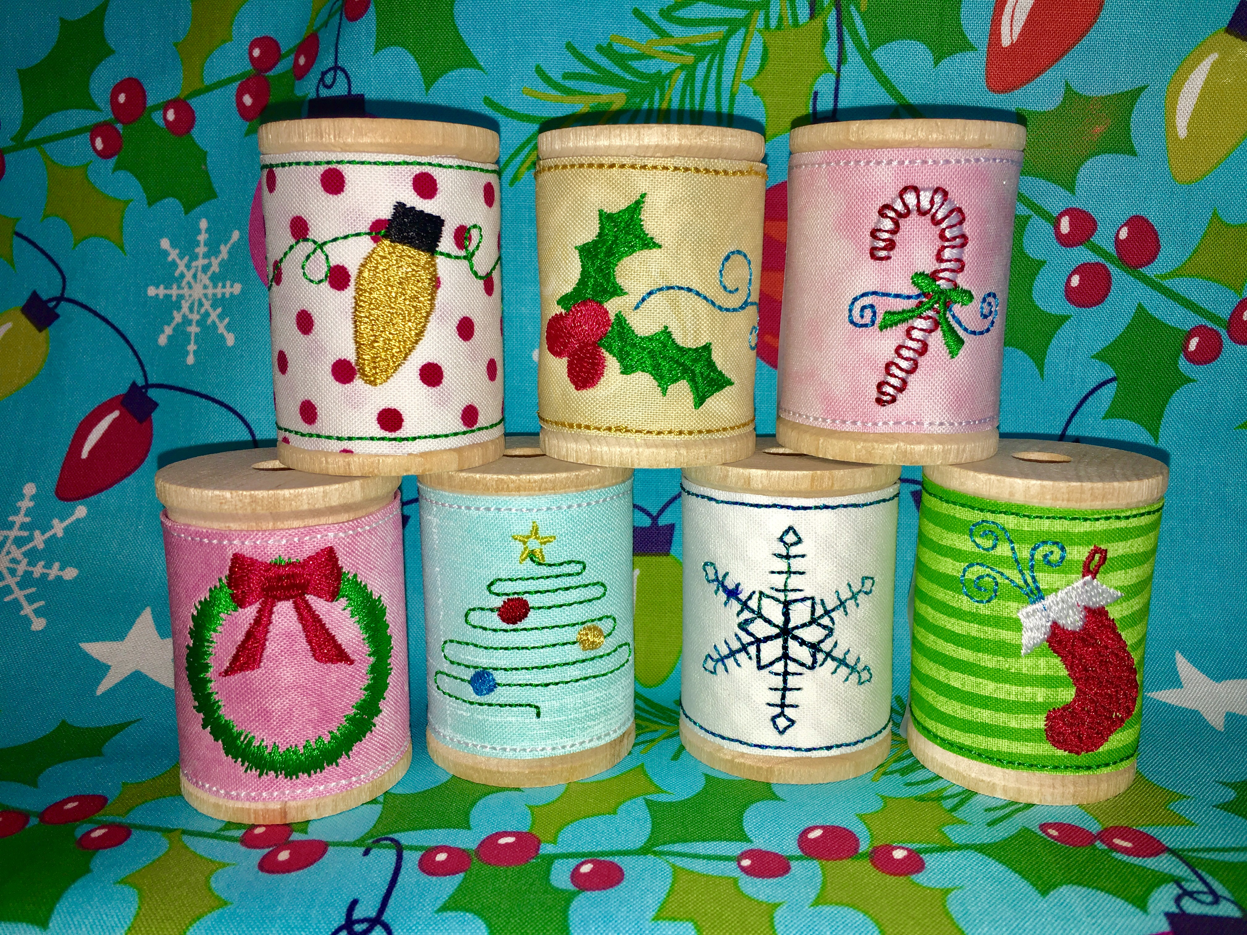 Holly Jolly Spool Wraps In The Hoop