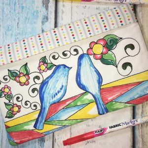 Coloring Book Zipper Pouch In the Hoop - Birds