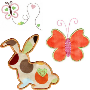 bunny and butterfly applique