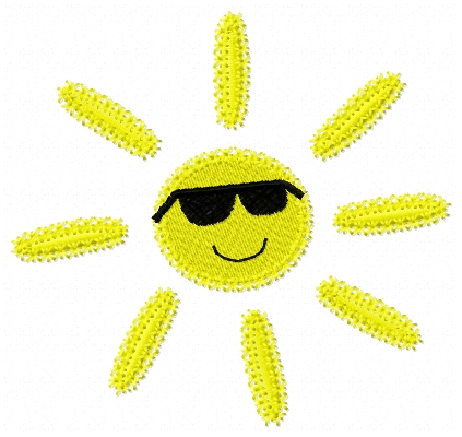 sun with glasses embroidery design