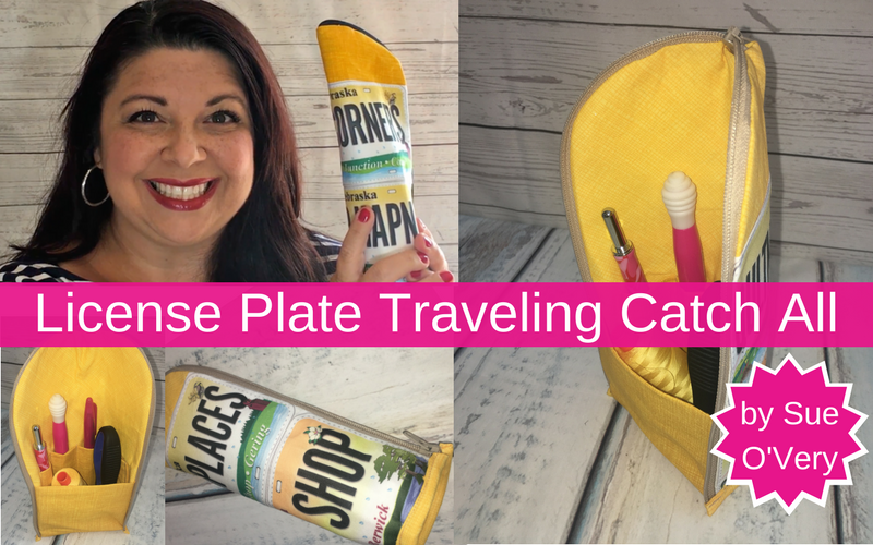 license plate traveling catch all, perfect for carrying sewing notions