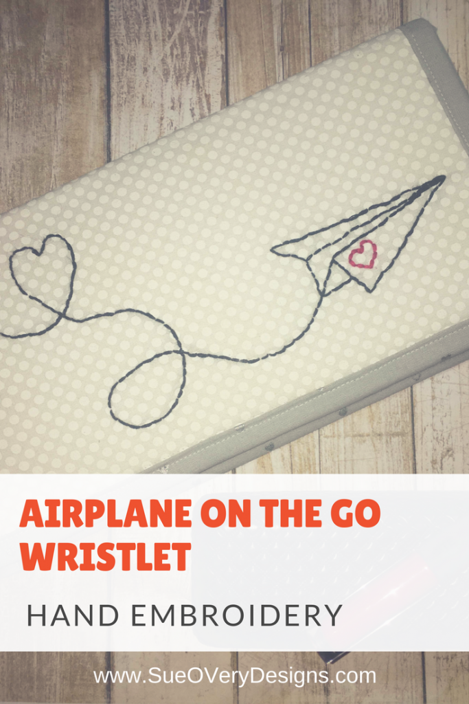 how to hand embroider airplane wristlet