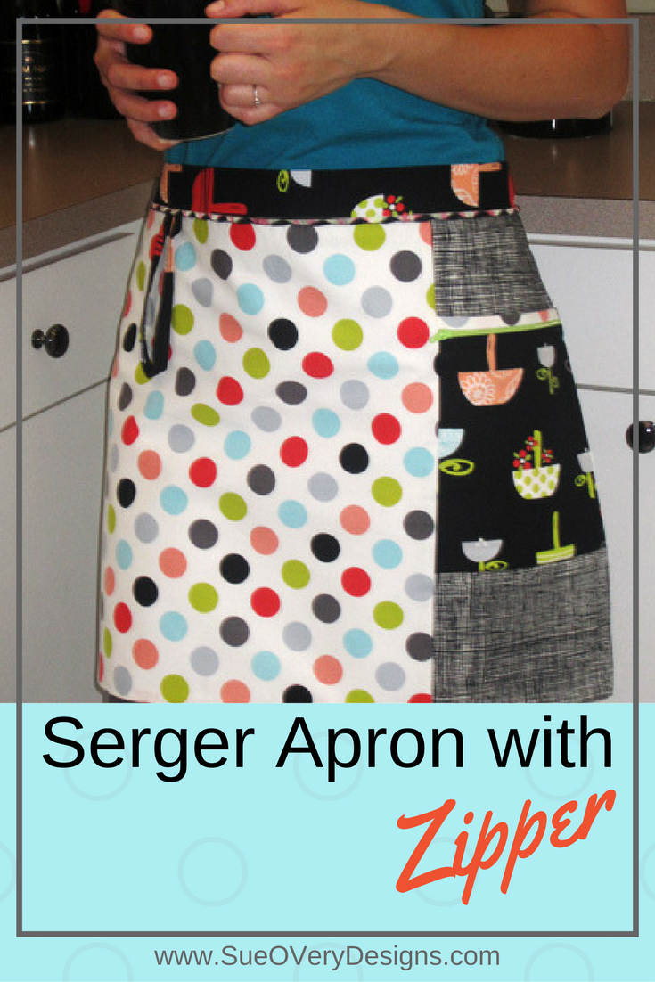 serger apron with zipper