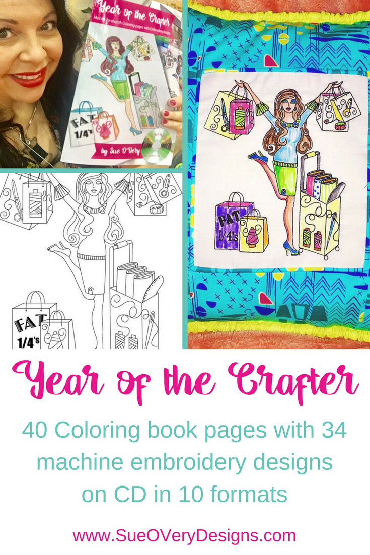 PT - the year of the crafter coloring book with machine embroidery designs