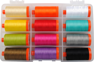 the sewing gnome in the hoop machine embroidery Aurifil thread