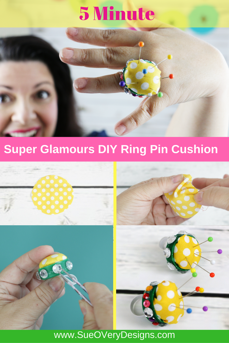 pt - 5 minute FREE, Easy, Fast and Super Glamours DIY Ring Pin Cushion - how to make a ring pin cushion - ring pin cushion
