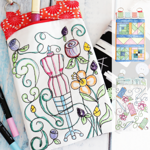 Sewing-Themed Coloring book Zipper Bags made in the hoop