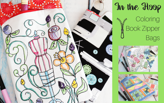 Book Cover Sewing Zip Code : Sewing themed coloring book notebook covers in the hoop