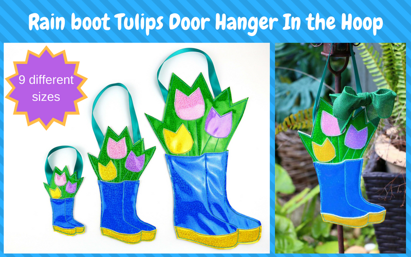 800×500 Rain boot door hanger in the hoop, in the hoop door hanger, door hanger, in the hoop, easy in the hoop, fast in the hoop, in the hoop spring, spring in the hoop