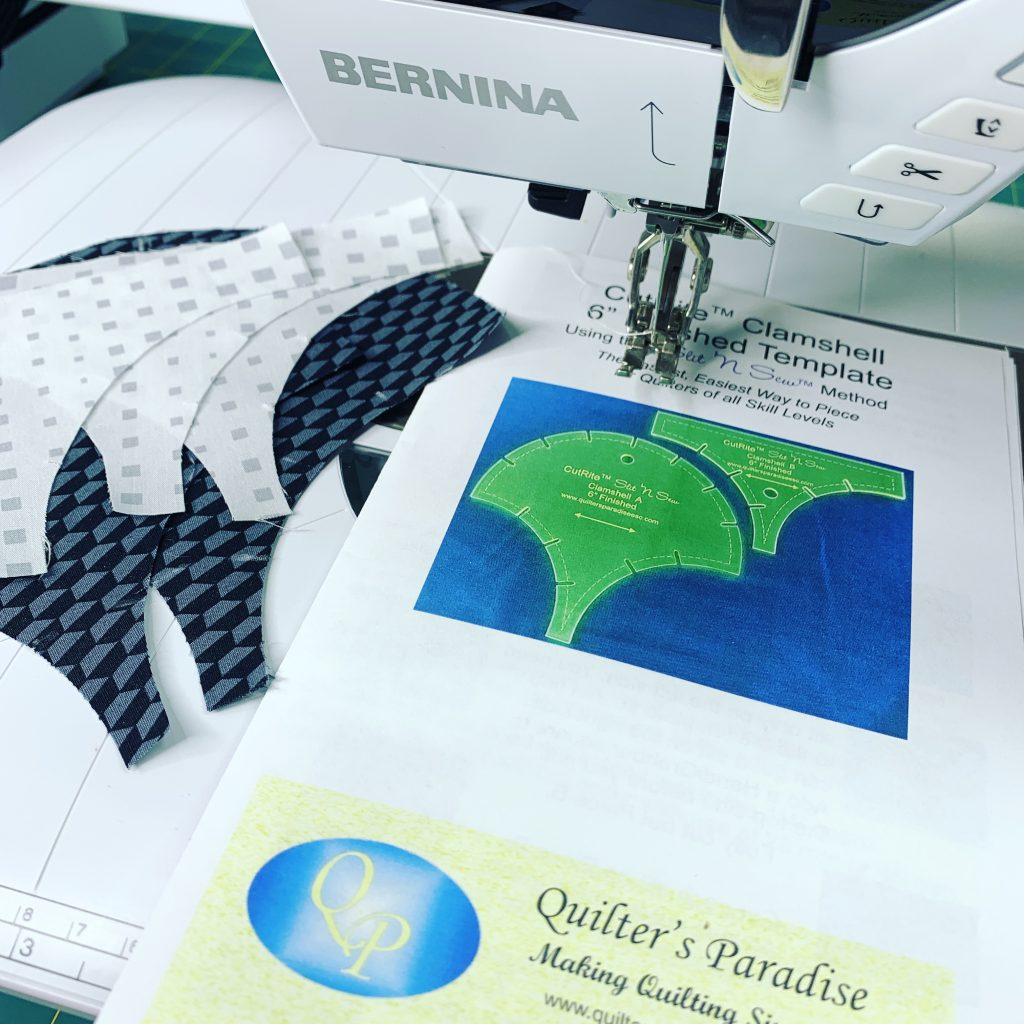 slit n sew, slit 'n sew method, quilter's paradise, cutrite, clamshell quilt block, how to sew a clamshell quilt block