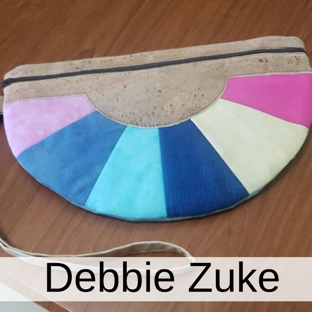 color wheel clutch, in the hoop zipper pouch