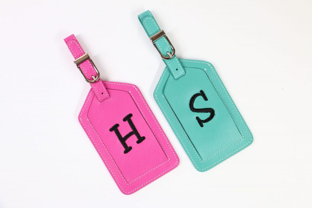 How to Embroider on a Leather Luggage Tag from All About Blanks
